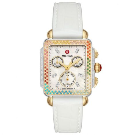 Ladies' Michele Deco Carousel Two-Tone Rainbow Bezel Diamond White Silicone Strap Watch MWW06P000297_5f86153449418.jpeg