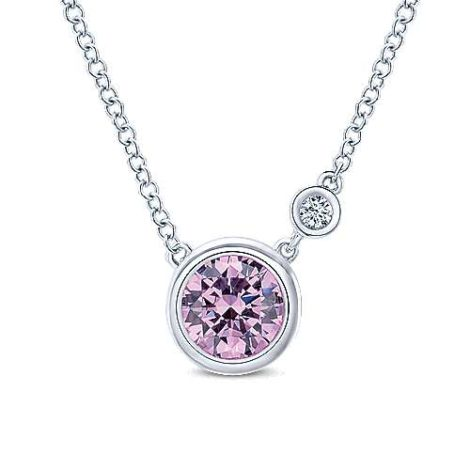 Gabriel-925-Sterling-Silver-Round-Bezel-Set-Pink-Created-Zircon-and-Diamond-Pendant-NecklaceNK5241SV5PZ-1